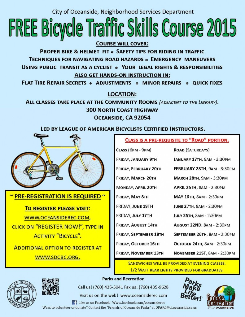 Bicycle Skills Course schedule 2015 Oceanside, CA