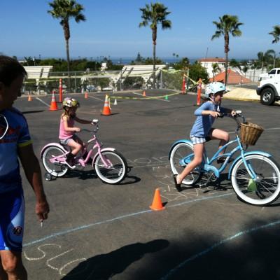 Instructor and kids at bike rodeo in Encinitas, California