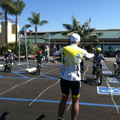 Instructor and kids at bike rodeo class in Encinitas, California
